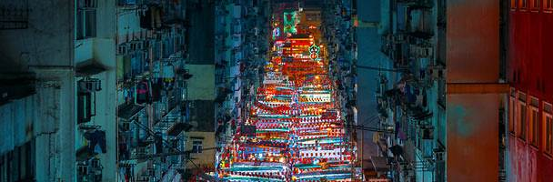 Temple Street Night Market in Yau Ma Tei, Hong Kong