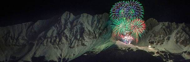 New Year's Eve fireworks in the Nordkette range, Austria