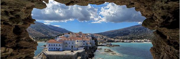 Andros Island in the Cyclades archipelago, Greece