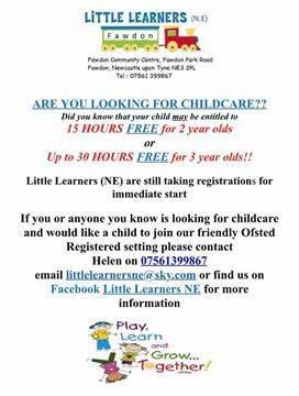 Little Learners NE Preschool - Fawdon   Fawdon Community Centre, Fawdon Park Road, Newcastle Upon Tyne NE3 2PL   +44 7561 399867