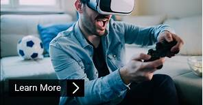 Excited man playing virtual reality games