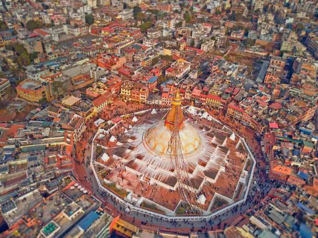 Aerial view of Boudhanath stupa in Kathmandu, Nepal (© Maksim Semin/Shutterstock)