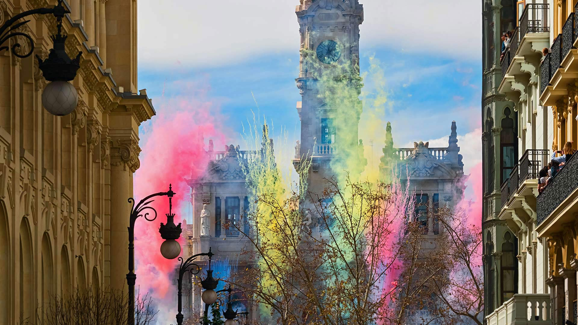 Fireworks at the Plaza del Ayuntamiento for Las Fallas festival in Valencia, Spain (© Helena G.H/Shutterstock)(Bing United States)