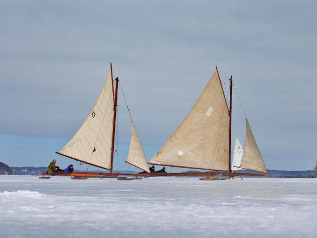 Antique iceboats on the frozen Hudson River near Astor Point in Barrytown, New York (© Mike Segar/REUTERS)