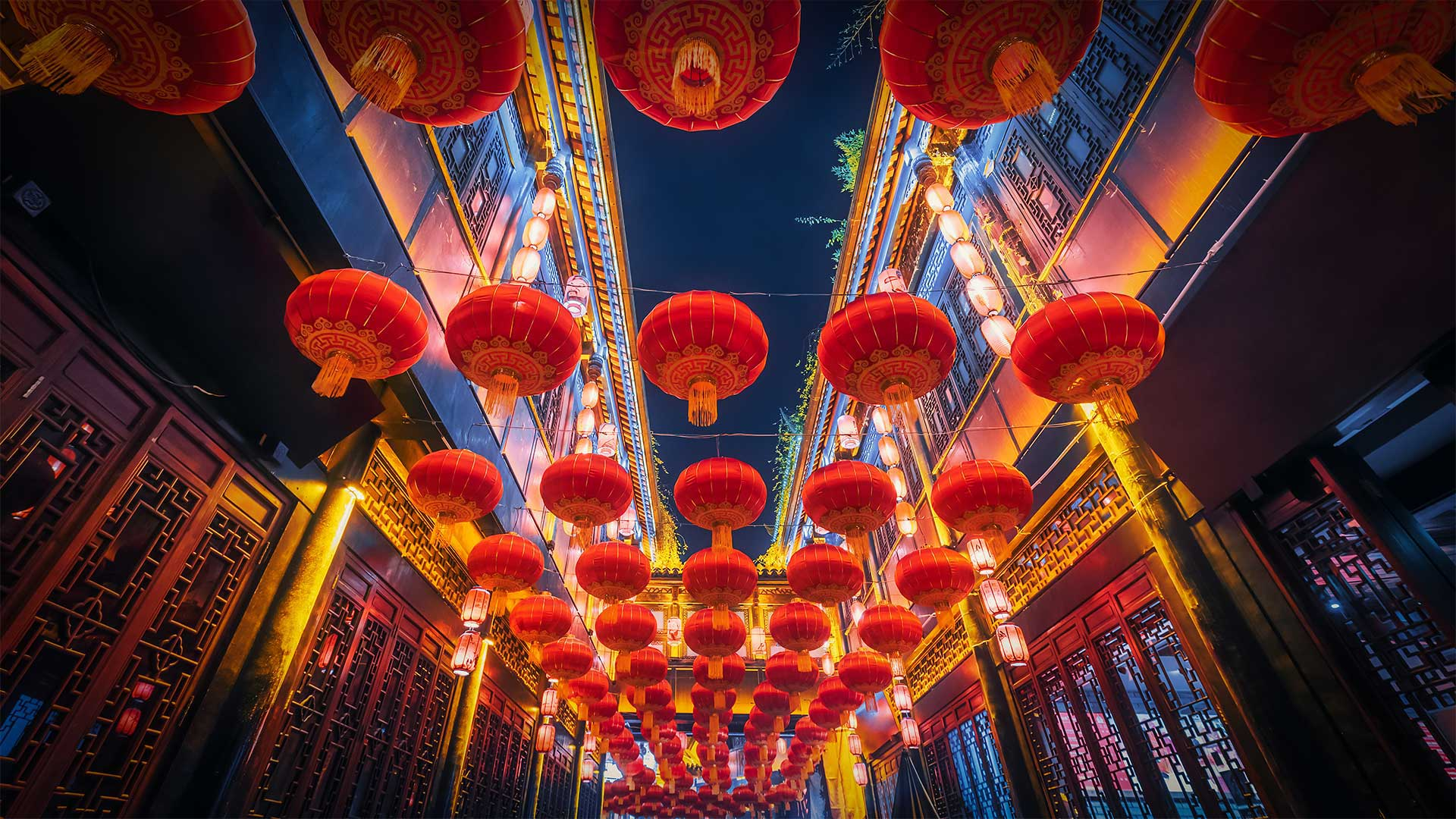 Red lanterns hanging in Jinli Street, Chengdu, China (© Philippe LEJEANVRE/Getty Images)(Bing United States)