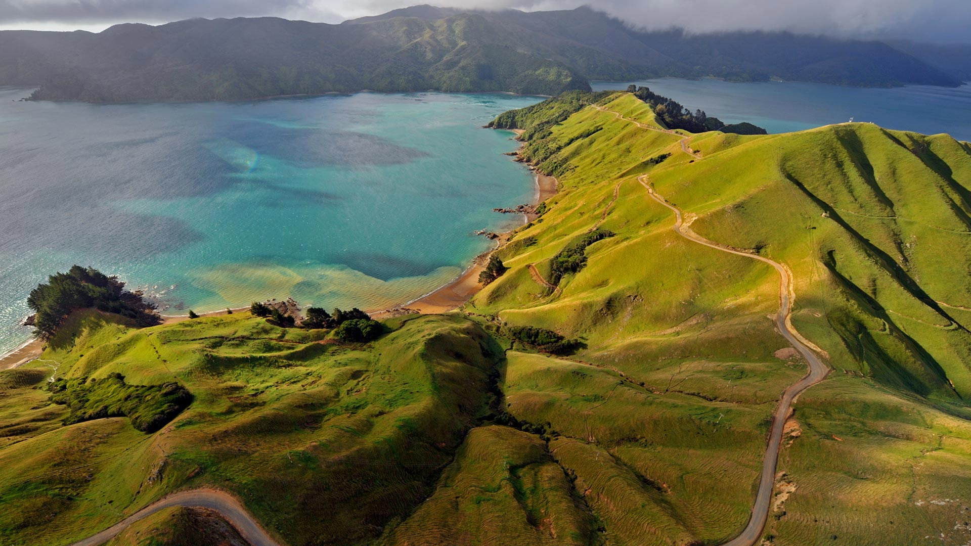 Aerial view of Marlborough Sounds, New Zealand (© Mathias Ortmann/Getty Images)(Bing United States)