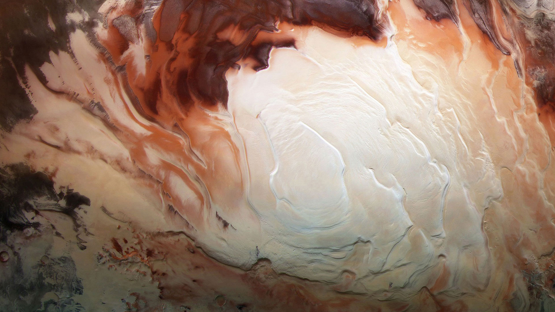 Mars Express image of the icy cap at Mars' south pole (© ESA/DLR/FU Berlin/Bill Dunford)(Bing United States)
