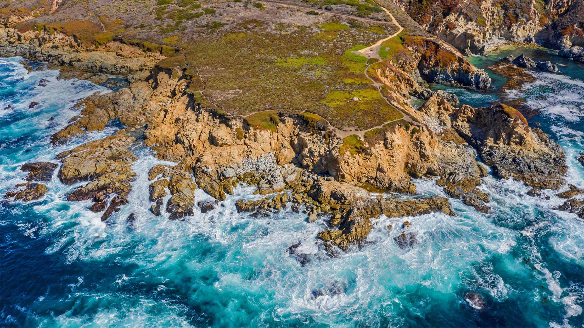 Aerial view of the Big Sur coastline near Monterey, California (© Blue Planet Archive/Alamy)(Bing United States)