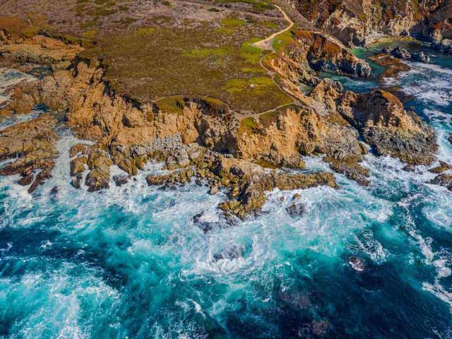 Aerial view of the Big Sur coastline near Monterey, California (© Blue Planet Archive/Alamy)