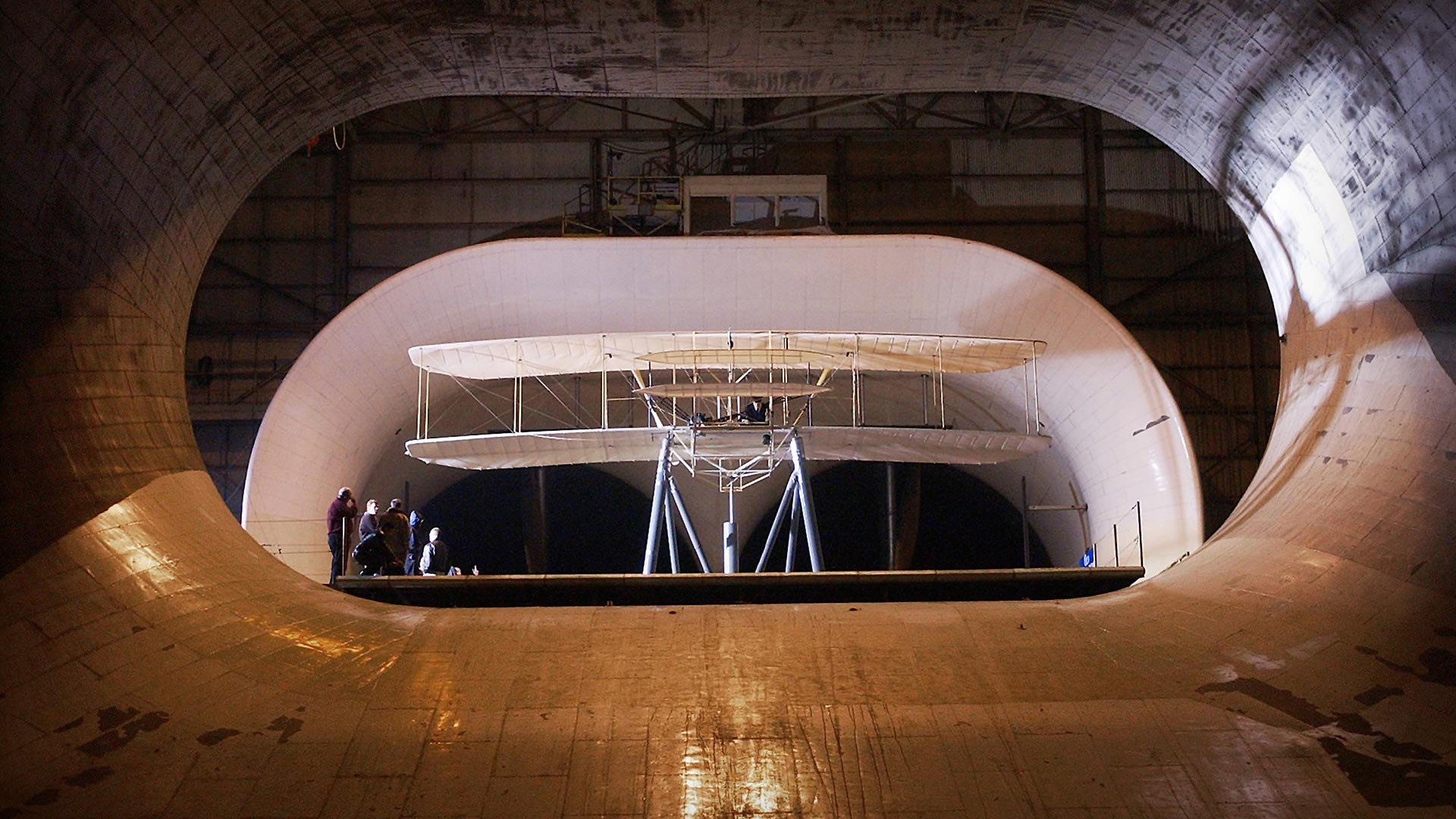 Replica of the Wright Flyer undergoing aerodynamic tests at NASA