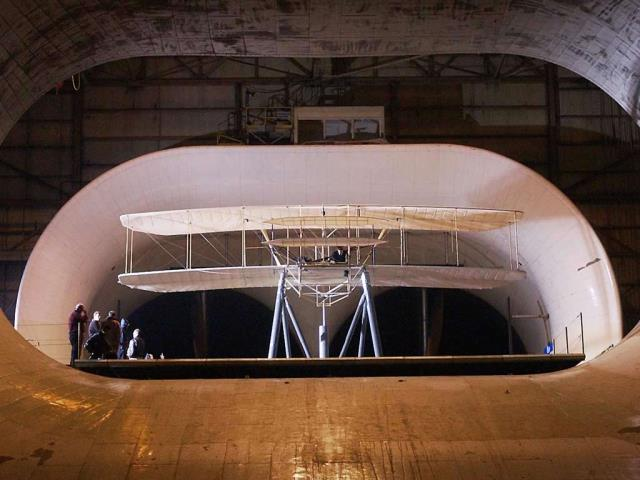 Replica of the Wright Flyer undergoing aerodynamic tests at NASA's Langley Research Center, Virginia (© Chuck Thomas/Science Photo Library)