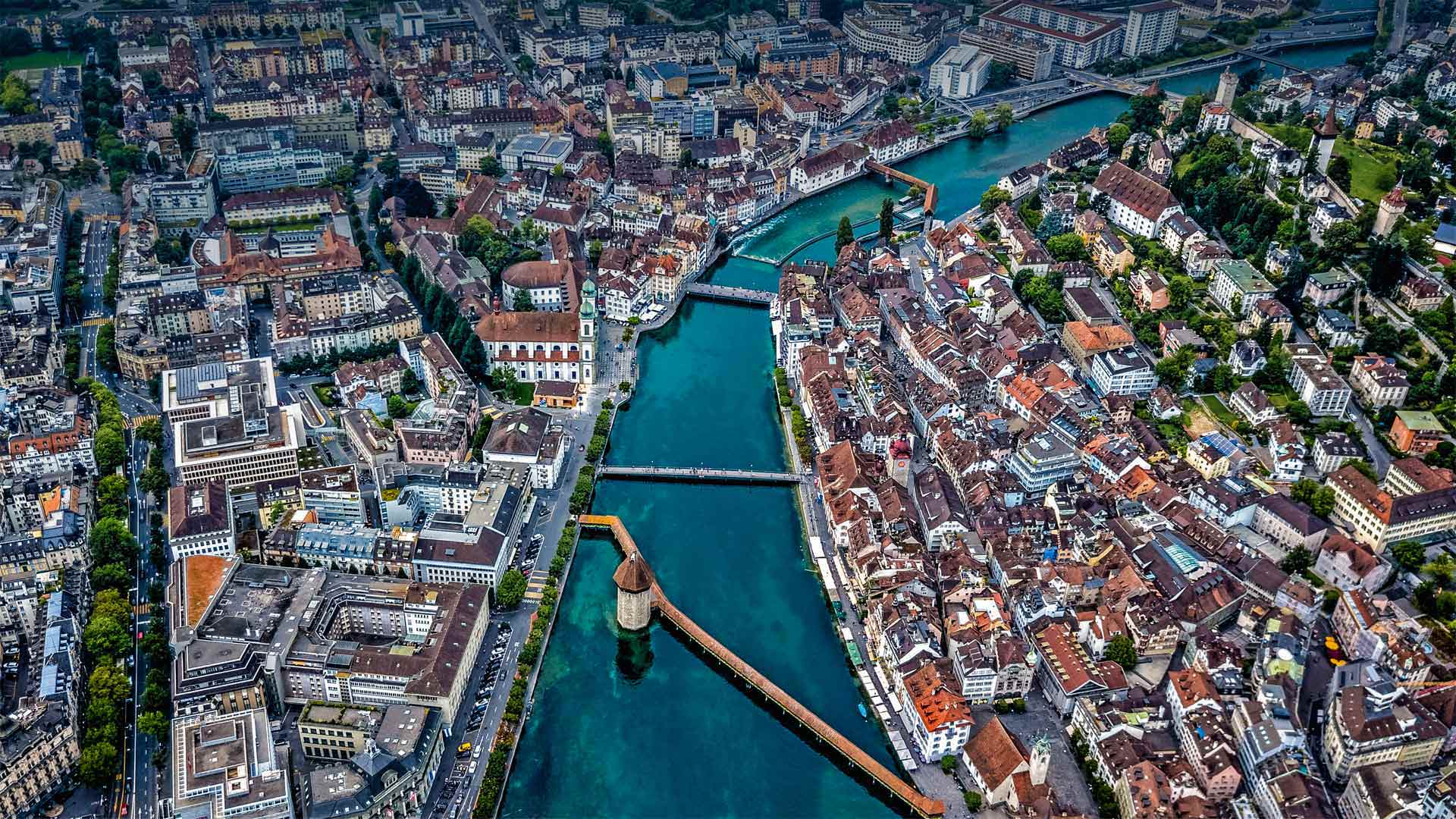 Aerial view of Chapel Bridge over the River Reuss in Lucerne, Switzerland (© Neleman Initiative/Gallery Stock)(Bing United States)
