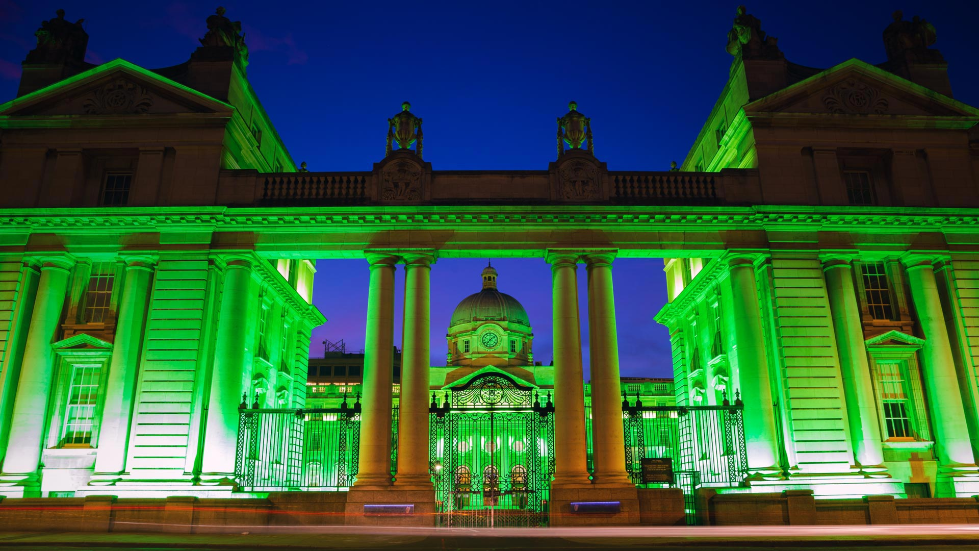 Dublin, Ireland's Government Buildings lit up for St ...