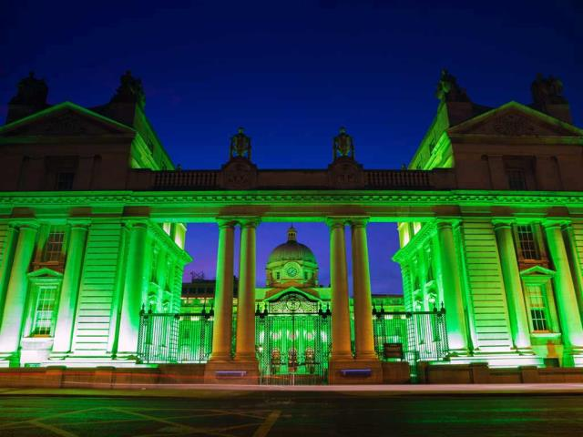 Dublin, Ireland's Government Buildings lit up for St. Patrick's Day (© David Soanes Photography/Getty Images)