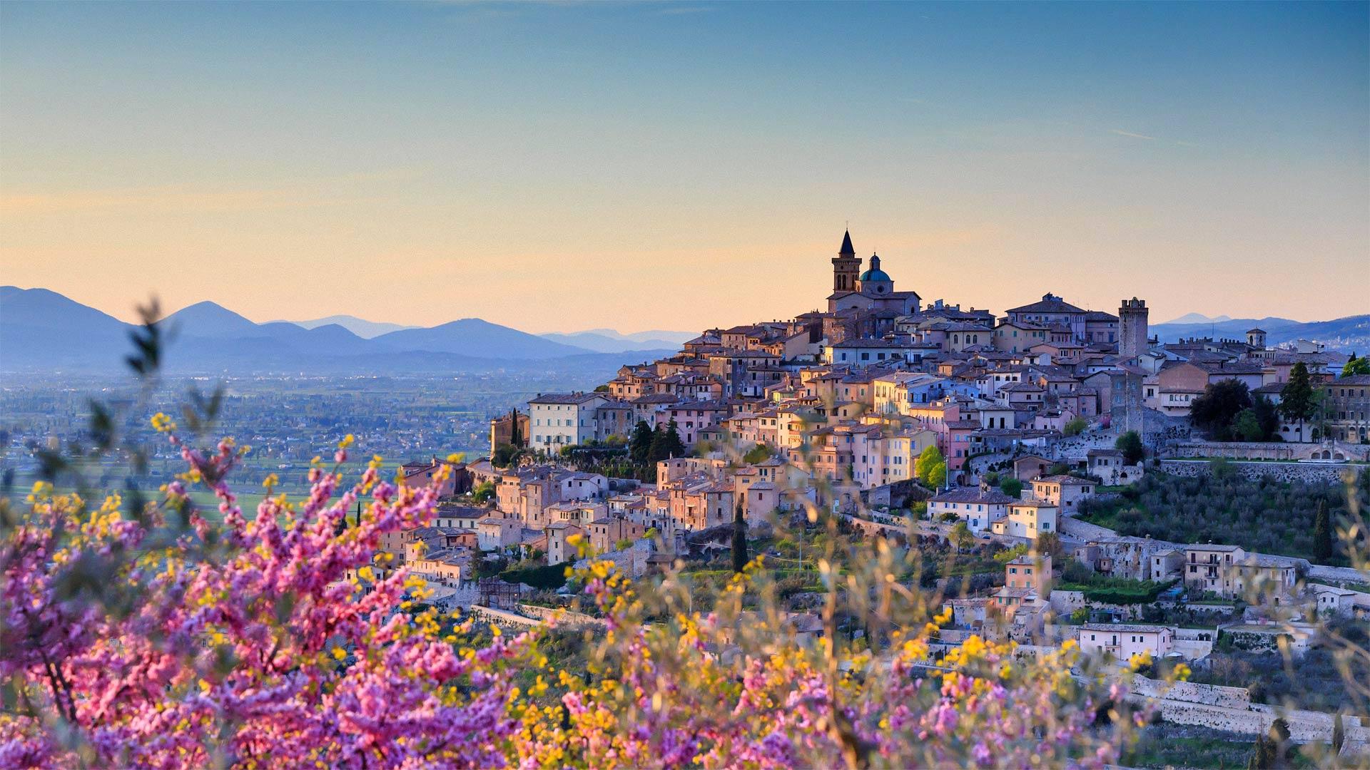 Almond blossoms overlooking Trevi, Umbria, Italy (© Maurizio Rellini/eStock Photo)(Bing United States)