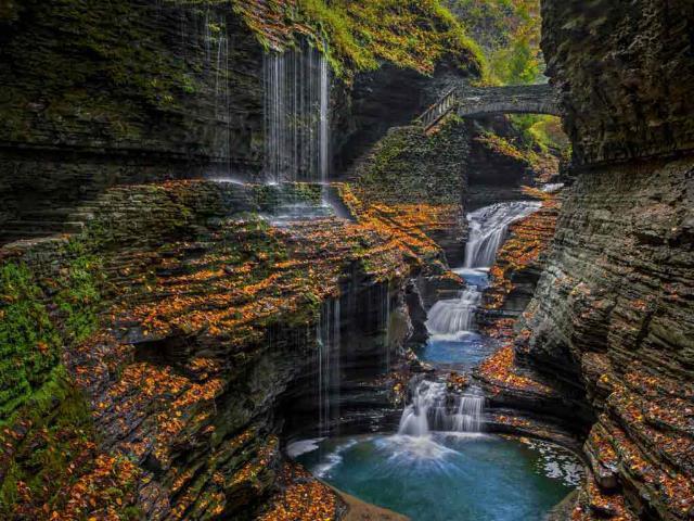 Watkins Glen State Park's Rainbow Falls in the Finger Lakes region of upstate New York (© Kenneth Keifer/Alamy)