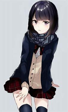 Image result for black haired anime girl