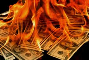 Image result for images of pile of money burning