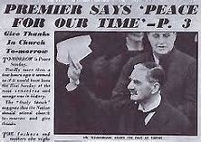 Image result for images of chamberlain peace in our time