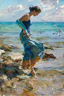 Image result for girl in multi-colored dress by the sea artwork