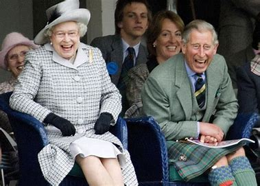 Image result for hm the queen and prince charles laughing images