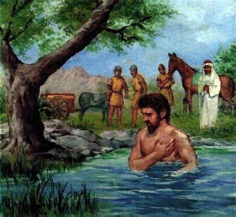 Image result for Naaman bathes in the jordan river and is healed