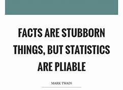 "Image result for ""Facts are stubborn things, but statistics are pliable."" ― Mark Twain"