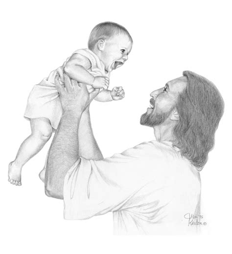 Pencil Drawing Jesus Holding Baby