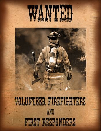 Image result for Wanted Volunteers Firefighters