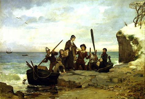 Image result for painting pilgrims landing on plymouth rock