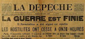 brochure de journal annonçant la fin de la 1ere guerre mondiale