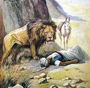 Image result for the lion in the bible kills the disobediant man of god