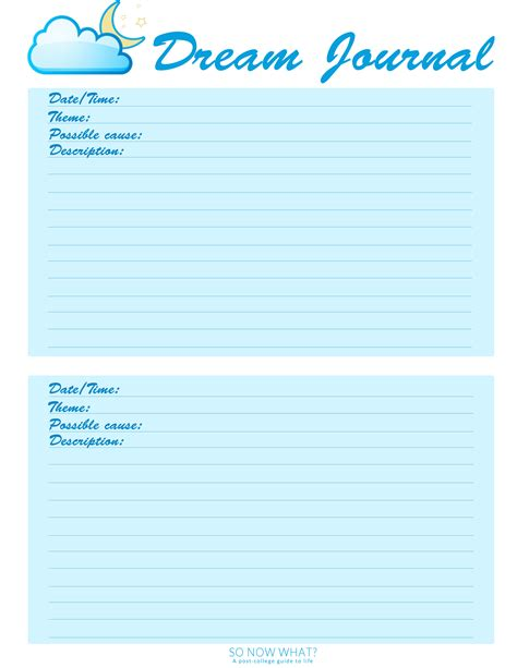 Image result for Dream Journal PDF Template