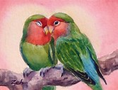Image result for Images Two Lovebirds On a Spring Branch