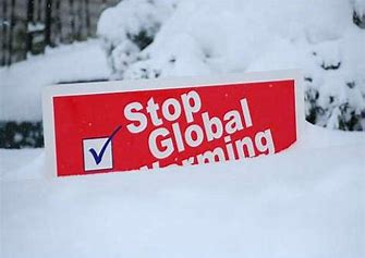 Image result for images of global warming sign buried in snow
