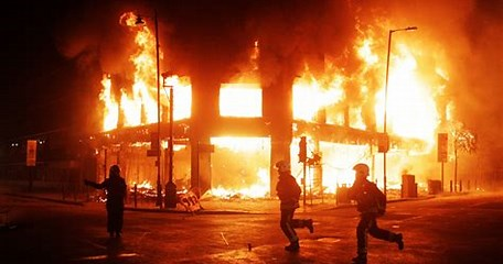 Image result for rioting burning buildings