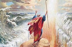 Image result for medieval images parting the red sea moses