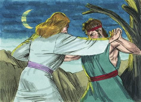 Image result for Jacob Wrestles an Angel with Bible Picture