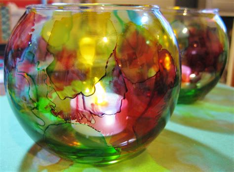 alcohol ink on glass bowl