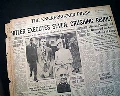 "Image result for Adolf Hitler purged the Nazi Party by destroying the SA and bringing to power the SS in the ""Night of the Long Knives."""