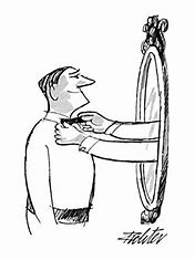 Image result for cartoon of grotesque image in the mirror