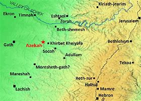 Image result for MAP SHOWING THE DISTANCE BETWEEN GATH AND Hebron in the Bible