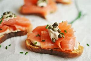 Image result for smoked salmon on crostini