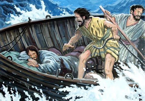 Image result for jesus sleeping in the boat during the storm