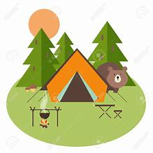 A picture of a camp scene with a tent in the woods and the sun setting