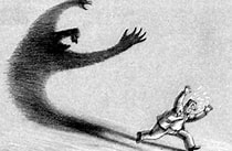 Image result for Images Afraid of One's One Shadow. Size: 168 x 110. Source: idioms.languagesystems.edu