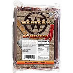 Weaver's Smoked Meats 7 Inch Meat Sticks- Established In 1885 (Hot Beef, 5 Lbs.)