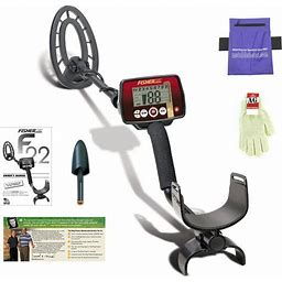 "Fisher F22 Weatherproof Metal Detector With 9"" Waterproof Coil + Bonus Pack"