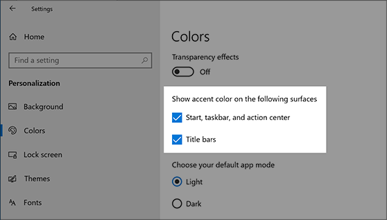 Colors option in Personalization settings