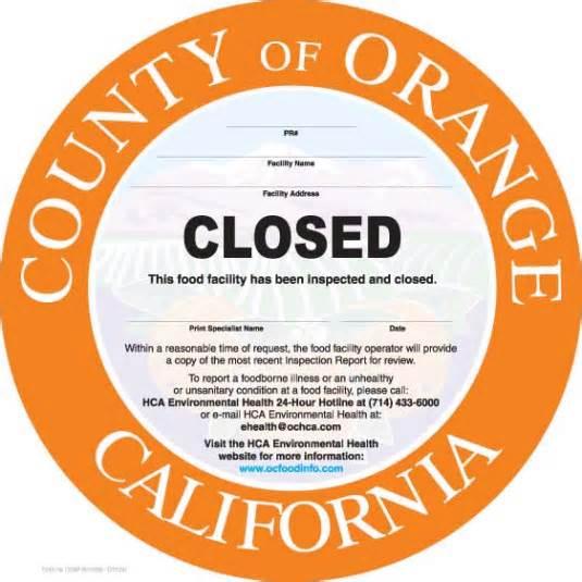 Orange County restaurants shut down by health inspectors (Oct. 14-22)